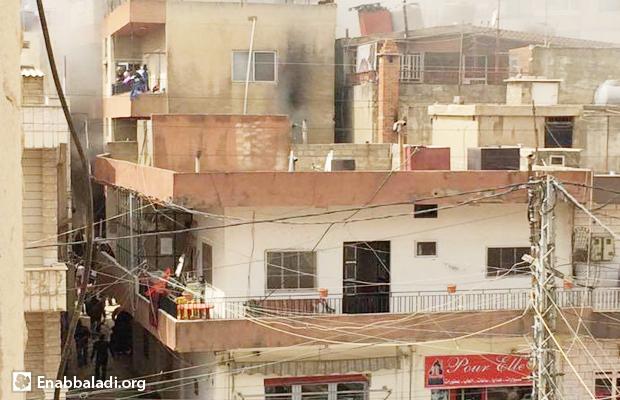 لحظة اشتعال الحريق في البيت - تعلبايا - البقاع الأوسط - لبنان