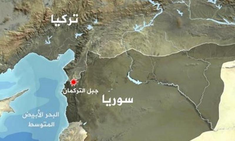 خريطة لموقع جبل التركمان في سوريا
