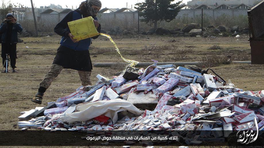 إحراق التبغ على يد لواء شهداء اليرموك