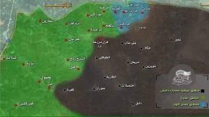خريطة تظهر توزع المناطق التي تسيطر عليها المعارضة شمال حلب (فيلق الشام)