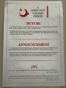 قرار إذن السفر للسوريين في غازي عنتاب، الثلاثاء 26 كانون الثاني.