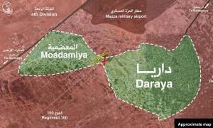 خريطة توضح الواقع العسكري بين داريا والمعضمية - كانون الثاني 2016 (المجلس المحلي لمدينة داريا)