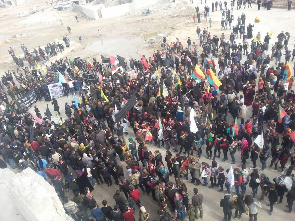 """مظاهرة في """"كوباني"""" في ذكرى اعتقال عبد الله أوجلان، الأحد 14 شباط"""