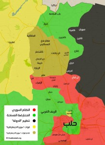 خريطة توزع القوى في حلب (آخر تحديث في 16 شباط الجاري)