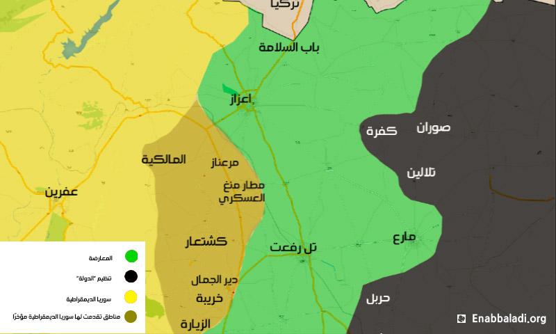 خريطة توضح مناطق السيطرة في ريف حلب الشمالي- الخميس 11 شباط (المصدر: عنب بلدي).