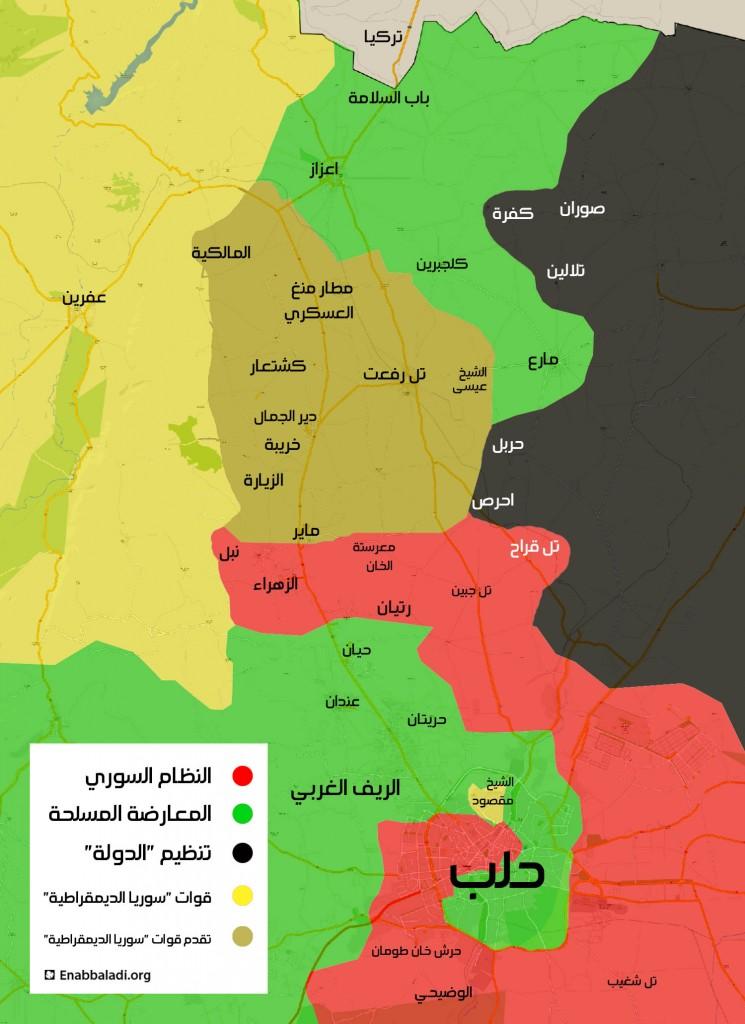 خريطة تظهر آخر التطورات الميدانية شمال حلب (عنب بلدي)