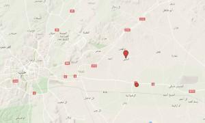 خارطة تظهر موقع قرية السين في ريف حلب الشرقي.