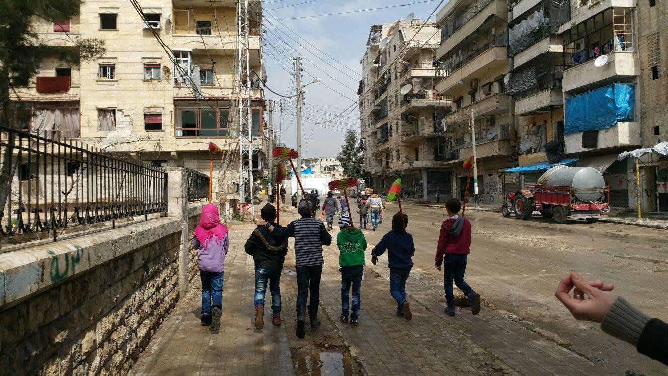 فعالية تنظيف شوارع مدينة حلب