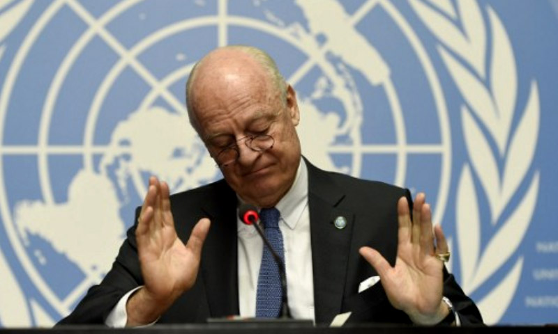 تعبيرية: االمبعوث الأممي إلى سوريا، ستيفان دي ميستورا - 14 آذار 2016 - في جنيف (AFP).