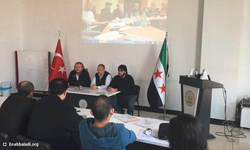 اجتماع ممثلي الهيئة العامة للرياضة وممثلي مؤسسة السنكري في مقر الأخيرة داخل مدينة غازي عينتاب التركية - الثلاثاء 8 آذار 2016 (عنب بلدي).