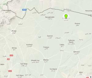 خريطة تبين موقع قرية دوديان في ريف حلب الشمالي.