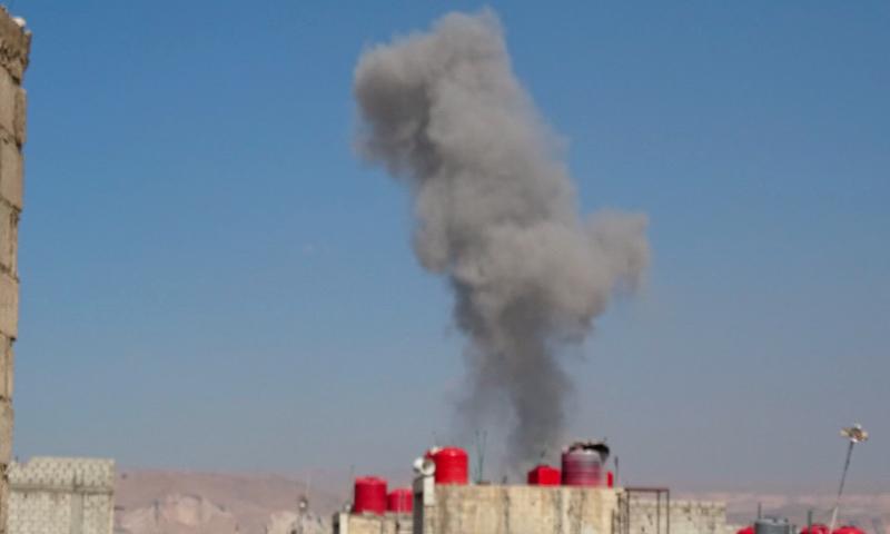 غارات تستهدف أطراف بلدة عربين في الغوطة الشرقية - الثلاثاء 22 آذار 2016.
