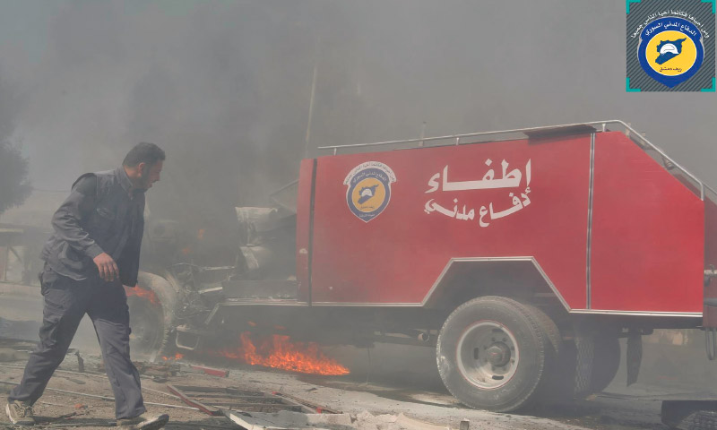 سيارة الإطفاء المدمرة في مدينة دوما - الخميس 10 آذار 2016 (الدفاع المدني في ريف دمشق).