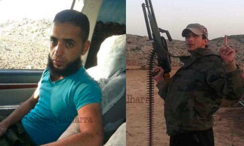 رياض وليد اللكود إلى يمين الصورة، ووائل علي متعب علوش إلى يسارها (مكتب توثيق الشهداء في درعا).