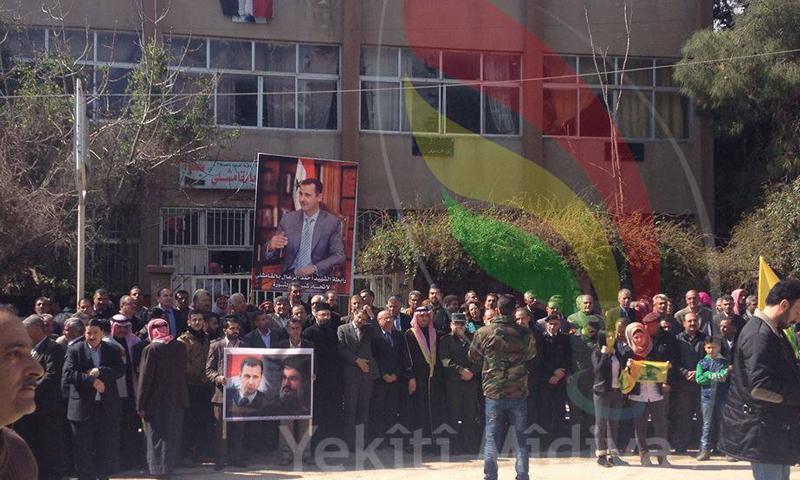 اعتصام مؤيد لحزب الله اللبناني في مدينة القامشلي، الأحد 6 آذار، المصدر: يكيتي ميديا.