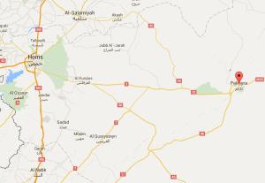 خريطة توضح موقع مدن تدمر، والقريتين، وصدد، بريف حمص.