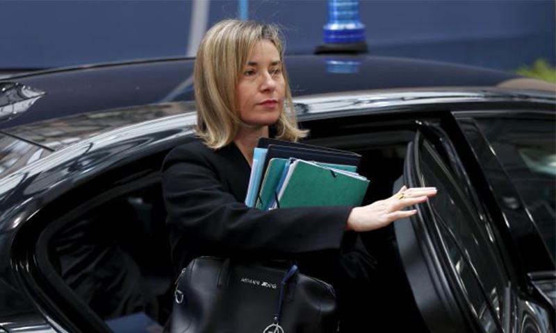 وزيرة خارجية الاتحاد الأوروبي، فيديريكا موغيريني، في بيروت (AFP)