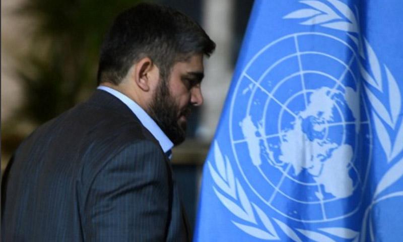 كبير مفاوضي المعارضة السورية، وعضو المكتب السياسي في جيش الإسلام، محمد علوش (AFP)
