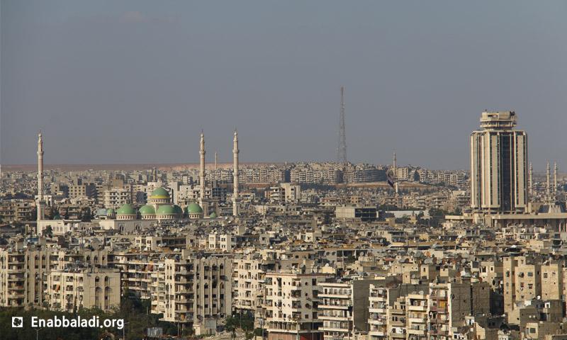 أحياء حلب الخاضعة لسيطرة النظام السوري (أرشيف عنب بلدي)