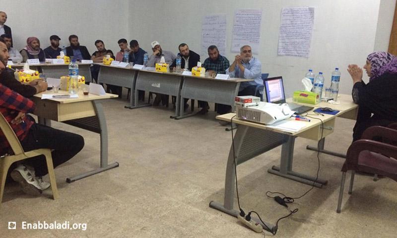 خلال فعاليات الورشة 18 نيسان 2016 (عنب بلدي)