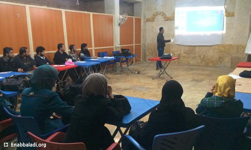محاضرة في اليوم العالمي للتوعية بالألغام - حي الكلاسة في حلب - الاثنين 4 نيسان 2016 (عنب بلدي)
