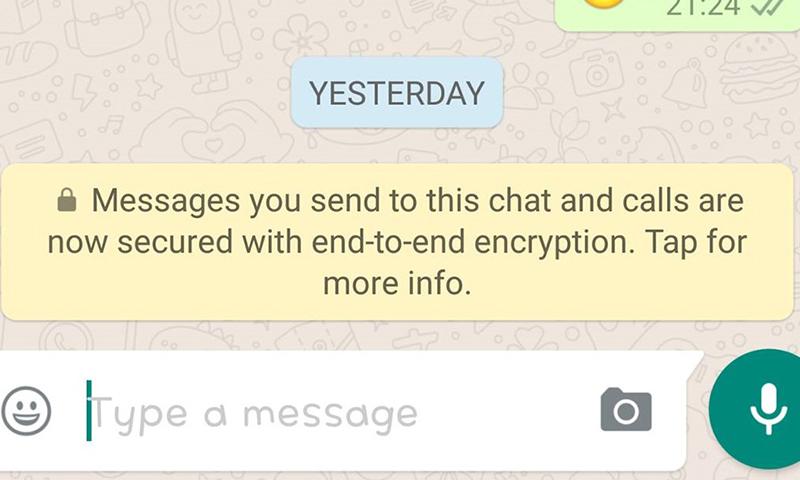 """صورة تظهر تشفير المحادثات في تطبيق """"واتساب"""" على أندرويد (إنترنت)"""