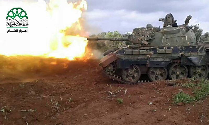 """حركة أحرار الشام تشارك في معارك درعا ضد """"شهداء اليرموك""""، المصدر: أحرار الشام"""