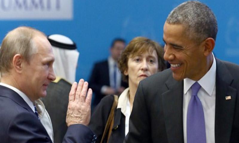 الرئيس الأمريكي، باراك أوباما، ونظيره الروسي، فلاديمير بوتين (AFP)