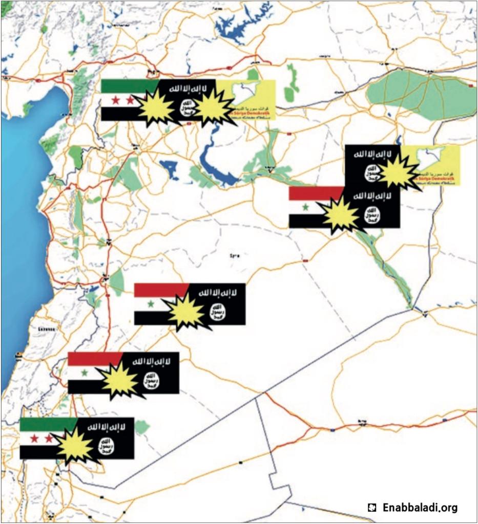 خريطة تظهر مناطق الاشتباك الرئيسية في سوريا عقب اتفاق التهدئة (عنب بلدي)