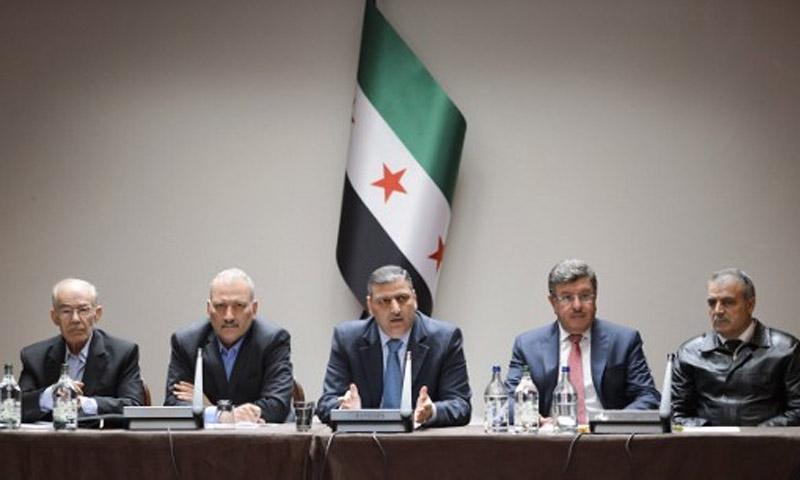 اجتماع الهيئة العليا للمفاوضات مع الائتلاف السوري المعارض - 18 نيسان 2016 (AFP)