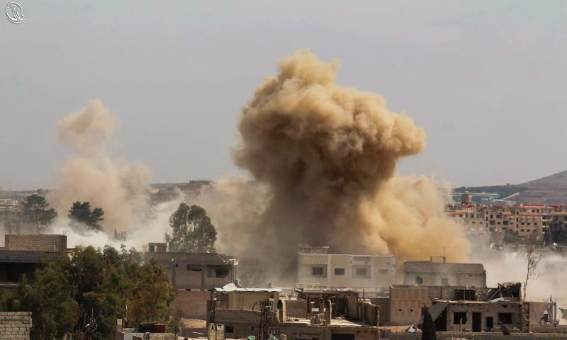 استهداف داريا بصاروخ أرض- أرض، الخميس 26 أيار (المجلس المحلي لمدينة داريا)