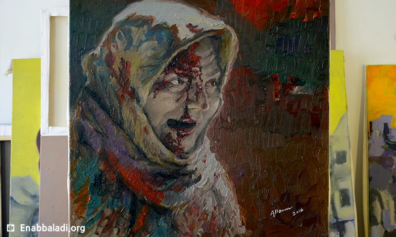 """اللوحة التي أطلق عليها ناشطون اسم """"سورياليزا"""" للفنان السوري حسام علوم (عنب بلدي)"""