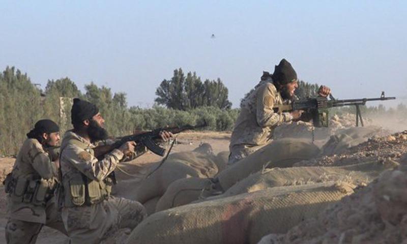 """مقاتلون من تنظيم """"الدولة الإسلامية"""" في ريف حمص الشرقي (أرشيفية)."""