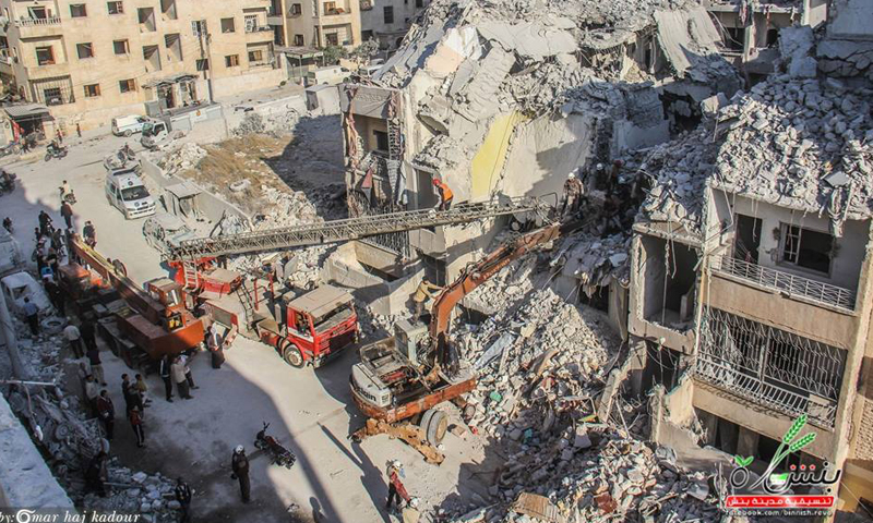 الدمار في مدينة إدلب جراء الغارات الجوية عليها، الثلاثاء 31 أيار (تنسيقية بنش).