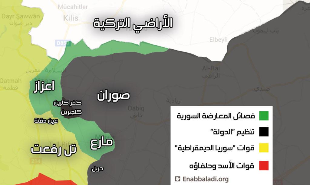 خارطة السيطرة في ريف حلب الشمالي، الجمعة 27 أيار (عنب بلدي).