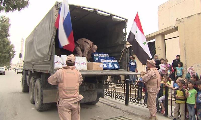 توزيع مساعدات روسية في مدينة حماة، 23 نيسان (روسيا اليوم).