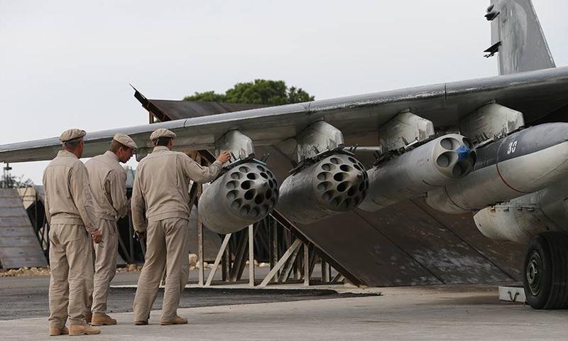 صورة أرشيفية لطائرات حربية روسية في قاعدة حميميم الجوية في اللاذقية (سبوتنك).
