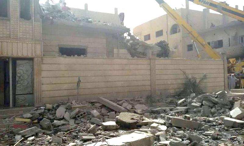 مكان الغارة الجوية على مدينة البوكمال، الاثنين 16 أيار (ناشطون).