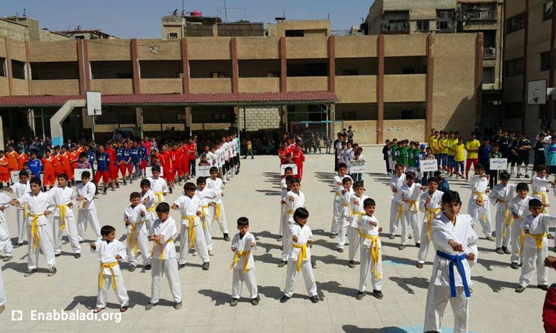 ختام البطولة المدرسية الأولى في مدينة دوما، السبت 14 أيار (عنب بلدي).