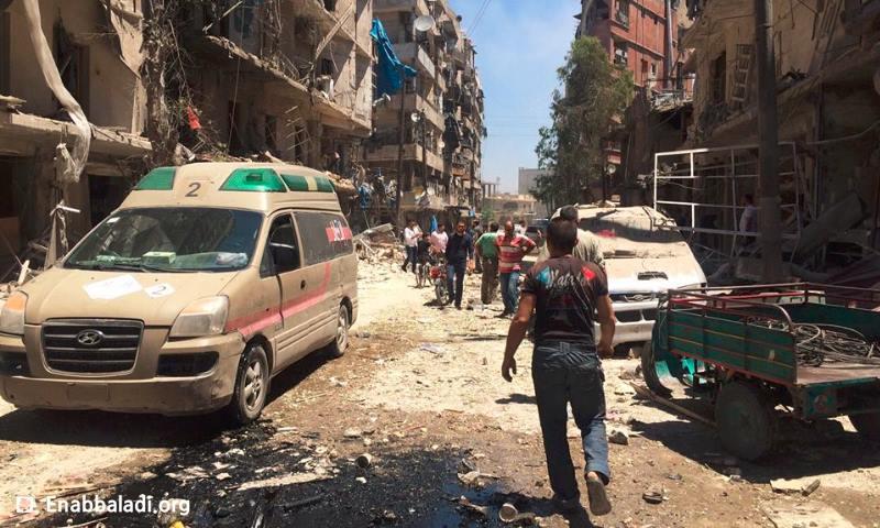 آثار القصف على حي الشعار في حلب اليوم الأربعاء 8 حزيران (عنب بلدي)