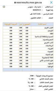كشف درجات نادية حبوس، بحسب وزارة التربية السعودية.