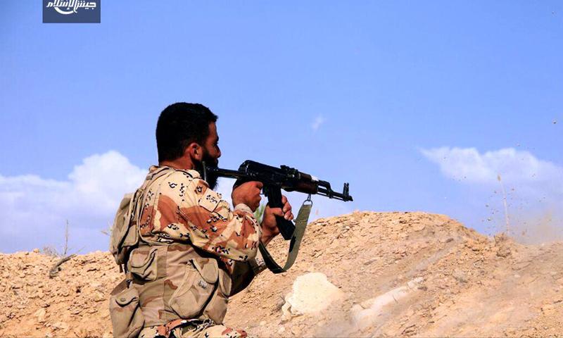 جانب من المعارك قرب تل البحارية - الثلاثاء 21 حزيران (جيش الإسلام)