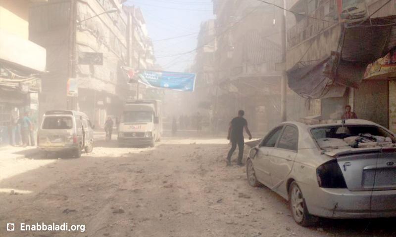 آثار القصف على حي الفردوس في حلب - الأربعاء 15 حزيران (أرشيف عنب بلدي)