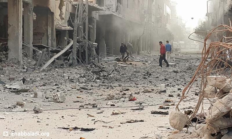 القصف على مدينة دوما في الغوطة الشرقية - الاثنين 13 حزيران (عنب بلدي)