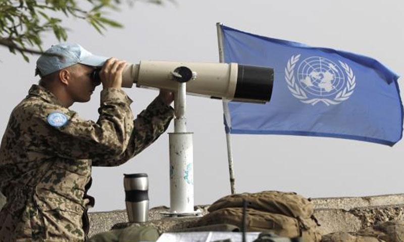 عنصر من قوات UNDOF في المنطقة العازلة بين سوريا والجولان المحتل (أنترنت)