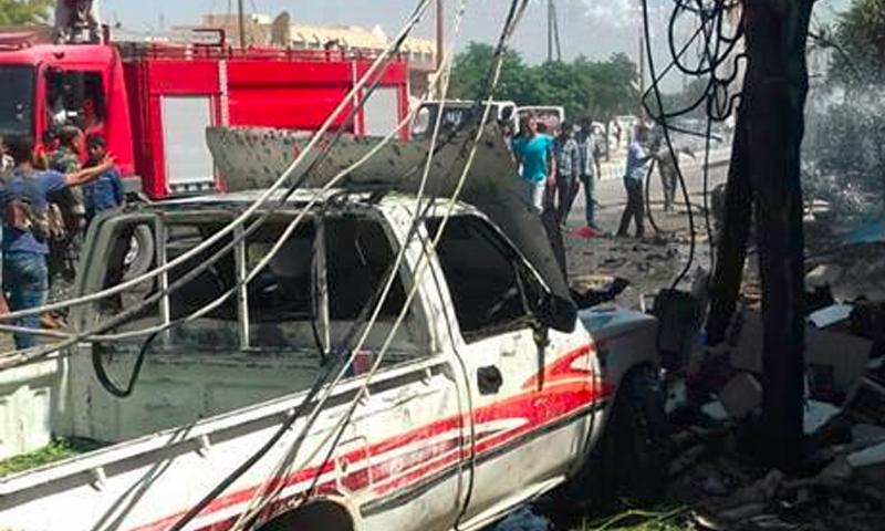 من موقع التفجير في تل أبيض شمال الرقة- الأربعاء 29 حزيران (ناشطون)