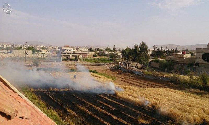 احتراق المحاصيل الزراعية في داريا (المجلس المحلي للمدينة)