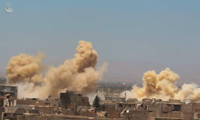 اثار القصف على مدينة داريا(المجلس المحلي في داريا)