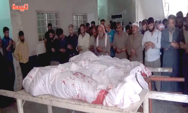صلاة الجنازة على ضحايا الغارات في مدينة تلبيسة، الخميس 2 حزيران (أخبار تلبيسة).