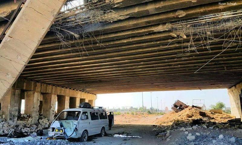 """الحافلة المستهدفة على طريق """"الكاستيلو"""" - 3 حزيران 2016 (عنب بلدي)"""